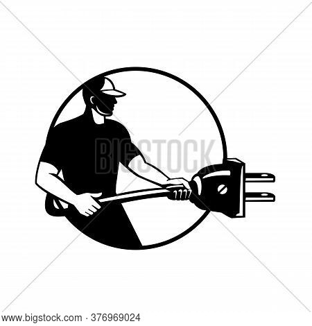 Illustration Of A Electrician, Electrical Mechanic Or Handyman Carrying Electric Plug Plugging Facin
