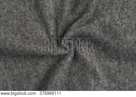 Gray Woolen Plaid Closeup. Pattern Of Folds Of Material. Macro Shot