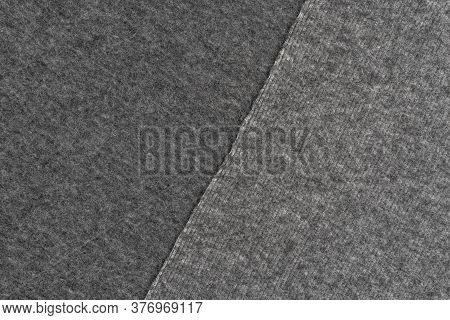 Close-up Of Gray Woolen Plaid Material In Two Shades. Abstract Background. Copyspace
