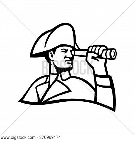 Mascot Icon Illustration Of Head Of A British Admiral Of The Fleet Looking Thru A Telescope Viewed F