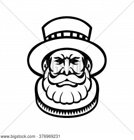 Mascot Icon Illustration Of Head Of A Beefeater, Yeoman Warder Or Yeomen Of The Guard,  Ceremonial G