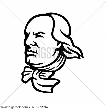 Mascot Icon Illustration Of Head Of An American Polymath And Founding Father Of The United States, B