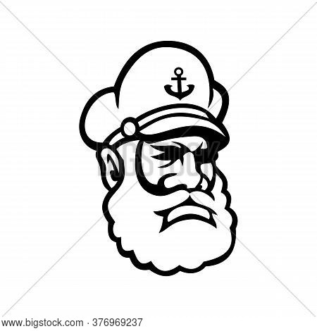 Mascot Icon Illustration Of Head Of A Black Skipper Or Sea Captain, Ship's Captain, Captain, Master,