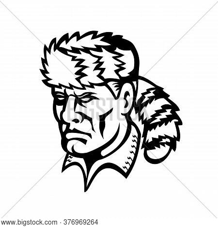 Mascot Icon Illustration Of Head Of David Davy Crockett, An American Folk Hero, Frontiersman, Soldie