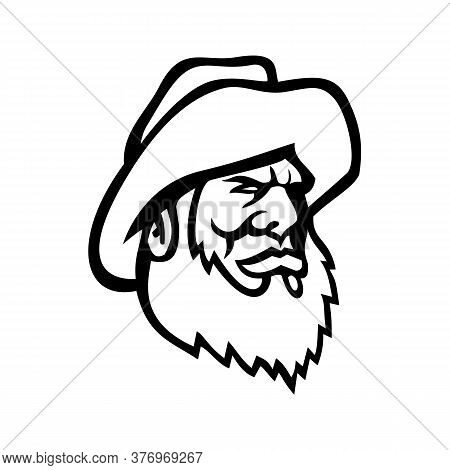 Mascot Icon Illustration Of Head Of An Old Fisherman Or Fisher Wearing Beard And Yellow Bucket Hat V