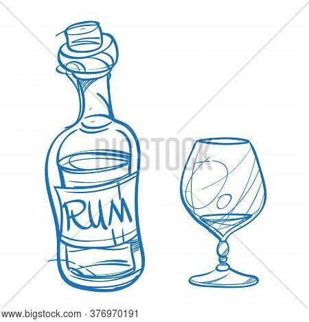 Bottle With Rum And A Glass. The Elements For Infographics With A Hand-drawing Style.