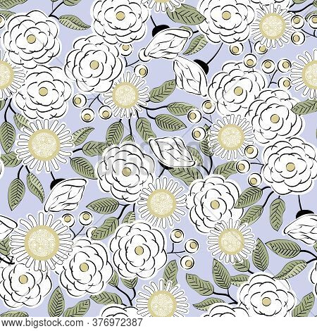 Vector Flowers In Yellow White With Green Leaves On Purple Background Seamless Repeat Pattern. Backg