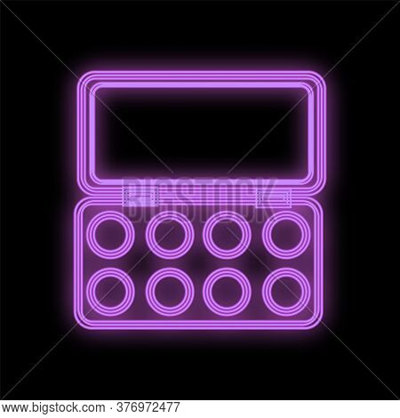 Palette With Bright And Saturated Lip Gloss, Lipstick. Neon Set Of Purple On A Black Background. Lip