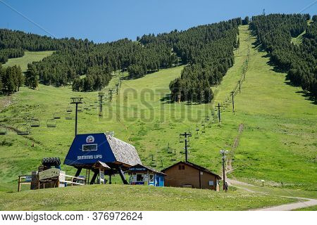 Jackson, Wyoming - June 26, 2020: The Snow King Ski Resort Area In Summer, With The Summit Lift Chai