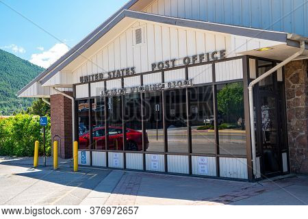 Jackson, Wyoming - June 26, 2020: The United States Post Office Branch In Jackson Hole Wyoming - Zip