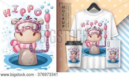 Swim Hippo Poster And Merchandising. Vector Eps 10