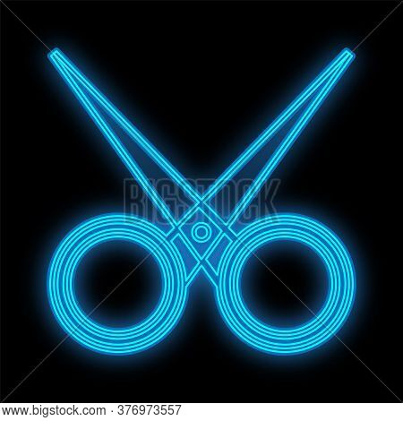 Blue Neon Scissors On A Black Background. A Glamorous Hairdressers Tool To Create A New Hairstyle An
