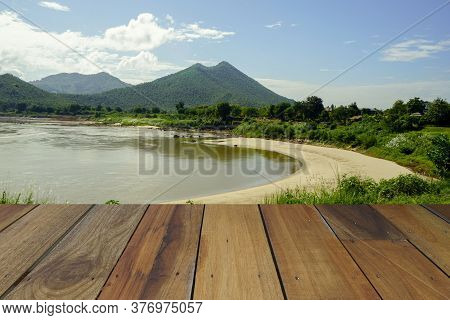 Wooden Floor And Riverside Background. Riverside With Wood Floor. Beauty Natural Background, Empty W