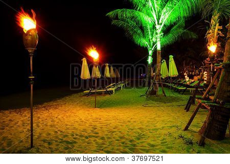 Tropical Beach At Night Time
