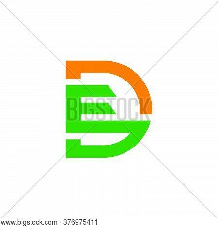 Letter Ed Simple Geometric Colorful Line Shape Symbol Logo Vector