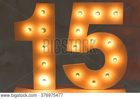 Fifteen Number With Bulb Led Lights. Number Isolated. Decoration For Teenager Parties. Decorative Nu