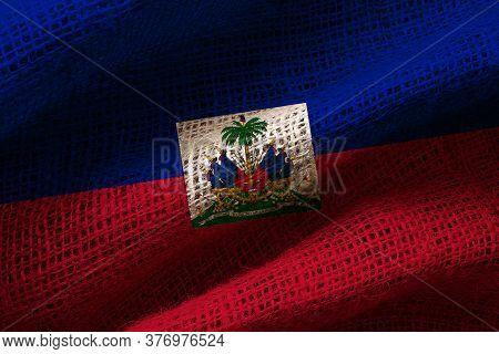 Close-up Photograph Of The Flag Of Haiti