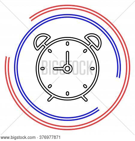 Clock Icon - Clock Symbol, Vector Alarm - Clock Alarm Isolated. Thin Line Pictogram - Outline Editab
