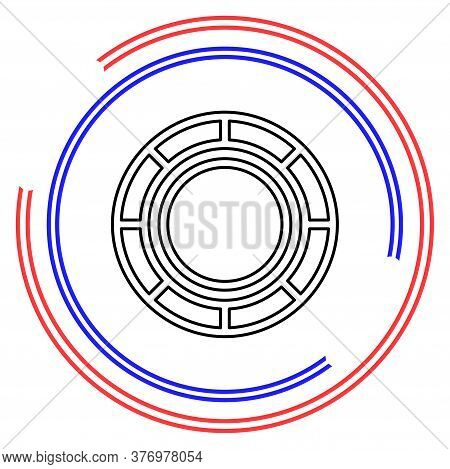 Vector Casino Chips, Casino Chips Isolated. Thin Line Pictogram - Outline Editable Stroke