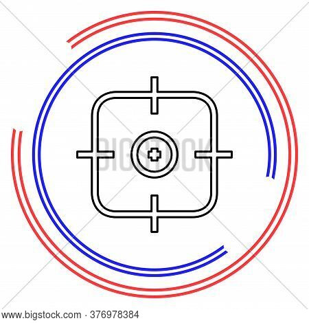 Crosshairs Icon - Vector Target Aim, Sniper Symbol - Weapon Illustration. Thin Line Pictogram - Outl