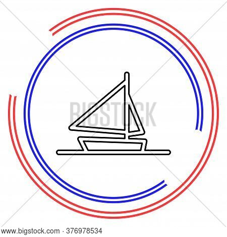 Ship Icon, Cruise Ship - Vector Boat Illustration, Sea Travel Symbol. Thin Line Pictogram - Outline