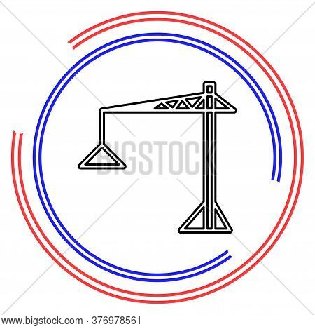 Crane Icon - Vector Construction Crane, Building Construction Symbol. Thin Line Pictogram - Outline