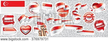 Vector Set Of The National Flag Of Singapore In Various Creative Designs