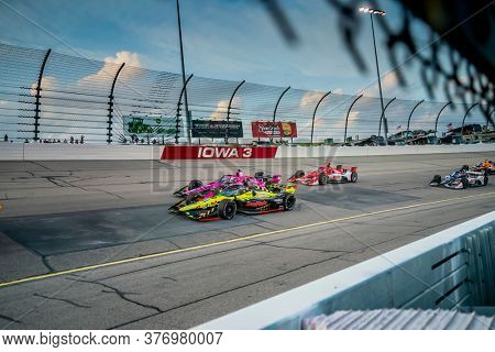 July 17, 2020 - Newton, Iowa, USA: SANTINO FERRUCCI (18) of the United States races through the turns during the  race for the Iowa INDYCAR 250s at Iowa Speedway in Newton, Iowa.