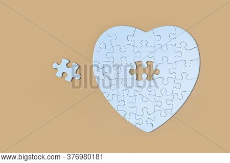 Unfinished White Jigsaw Puzzle Pieces On Yellow  Background, The Last Piece Of Jigsaw Puzzle, Copy S