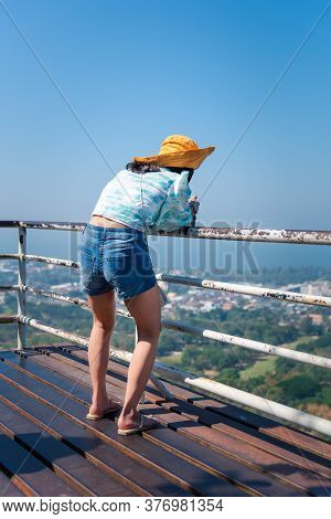 Woman Relax At Landscape Viewpoint On Mountain