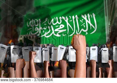 Protest In Saudi Arabia - Police Officers Stand Against The Protesting Crowd On Flag Background, Rev