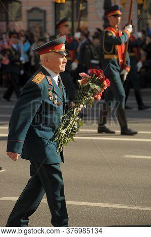 Veterans And Blockade On The Victory Parade On Nevsky Prospect