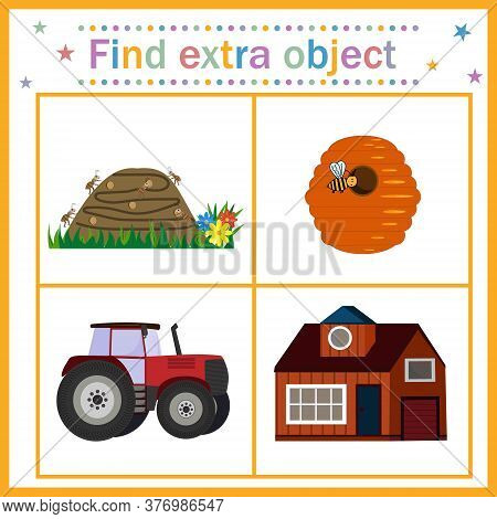 Map For Children's Development, Find An Extra Object, Theme House, Tractor Is An Extra Picture. Vect