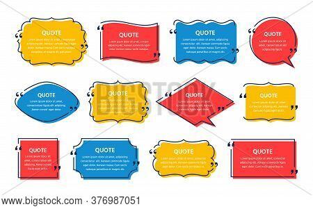 Quote Text Box. Vector. Quotations Frame. Decorative Vintage Templates. Set Of Info Comments And Mes
