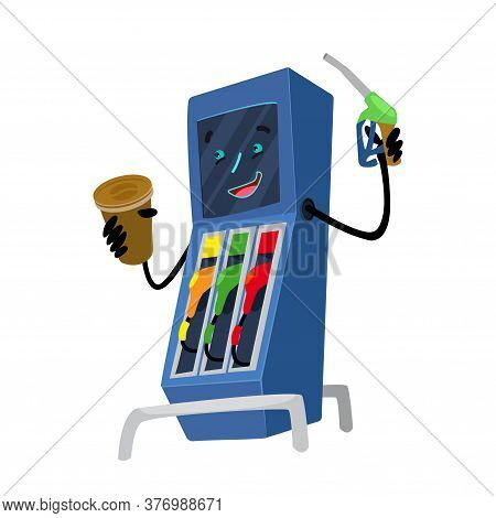 Gas Station Illustration. Refueling With Gasoline Fuel. Gas Station Character On A White Background.