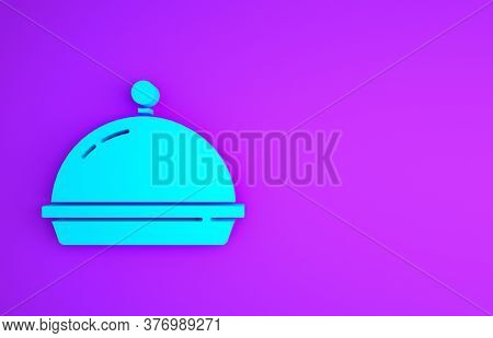 Blue Covered With A Tray Of Food Icon Isolated On Purple Background. Tray And Lid. Restaurant Cloche