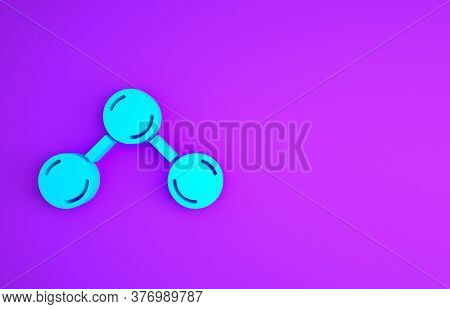 Blue Molecule Icon Isolated On Purple Background. Structure Of Molecules In Chemistry, Science Teach