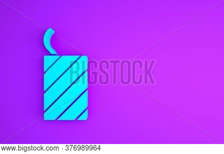 Blue Firework Rocket Icon Isolated On Purple Background. Concept Of Fun Party. Explosive Pyrotechnic