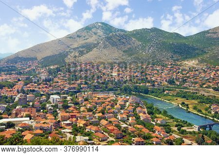 View Of Ancient City Of Trebinje And Trebisnjica River On Sunny Summer Day. Bosnia And Herzegovina,