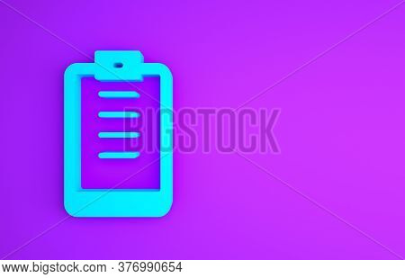 Blue Clipboard With Checklist Icon Isolated On Purple Background. Control List Symbol. Survey Poll O