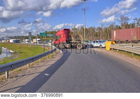 Saint Petersburg, Russia-june 08, 2019: A Truck Spun On The Ring Road Due To A Burst Wheel, A Large