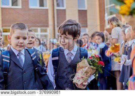 Russia, Saint-petersburg, September 2019: First Of September Back To School Children Went To School