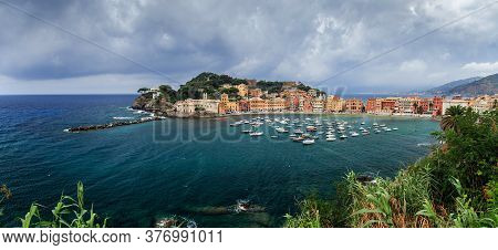 Sestri Levante Silence Bay Or Baia Del Silenzio Sea Harbor And Beach Panorama. Liguria, Italy.
