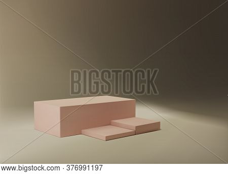 3d Rendering Abstract Minimal Square Pink Podium On A Neutral Beige Background Under Lighting, Spotl