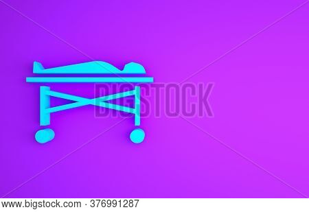 Blue Dead Body In The Morgue Icon Isolated On Purple Background. Minimalism Concept. 3d Illustration