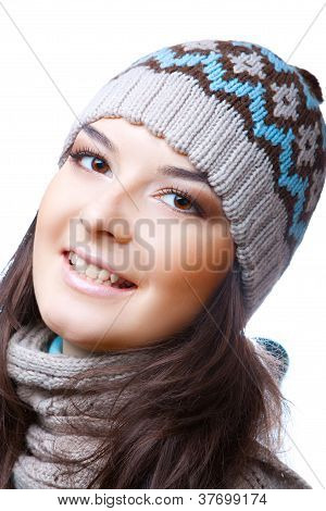 smiling woman in hat