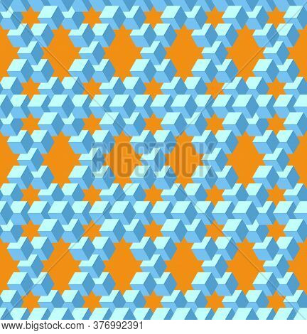 Vector, Seamless, Stylized Pattern Based On The Pentrose Triangle. Combination Of Orange And Blue Co