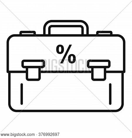 Percent Tax Case Icon. Outline Percent Tax Case Vector Icon For Web Design Isolated On White Backgro