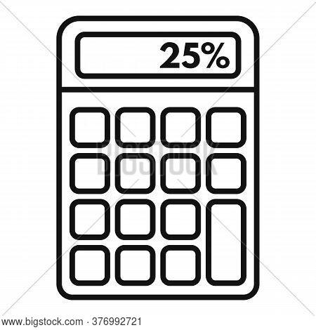Percent Tax Calculator Icon. Outline Percent Tax Calculator Vector Icon For Web Design Isolated On W