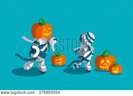 Spooky Halloween Mummies With Waving Bands. Various Carved Pumpkins. Vector Illustration For Hallowe